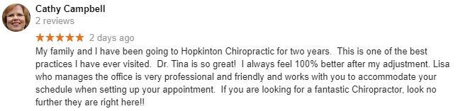 Hopkinton Chiropractic Patient Testimonial